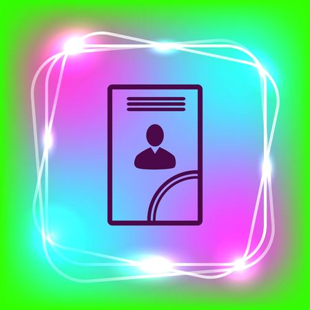 Document determining identity icon. Flat Vector illustration