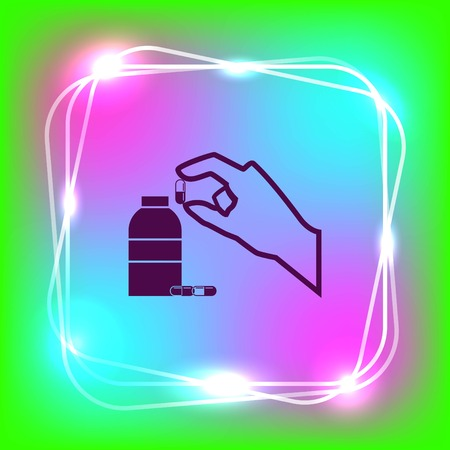 Pills and capsules icon, vector illustration. Illustration