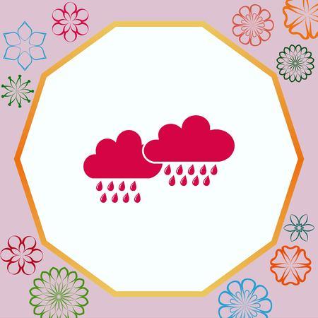 Dripping rain. Overcast. Vector illustration. Cloud rain symbol for your web site design.