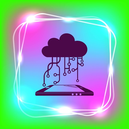 business software: Technology innovation icon. Cloud technology, vector illustration.