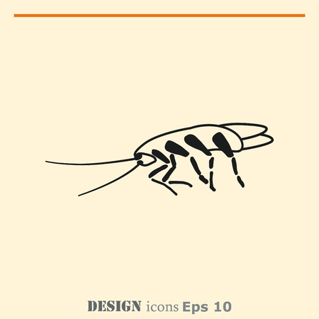 unhygienic: Cockroach icon, pest icon, vector illustration. Illustration