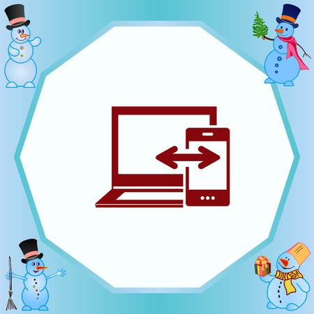 data synchronization: mobile data synchronization Icon, vector illustration. Flat design style.