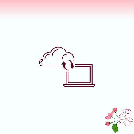 syncing: content syncing icon, vector illustration. Flat design style.
