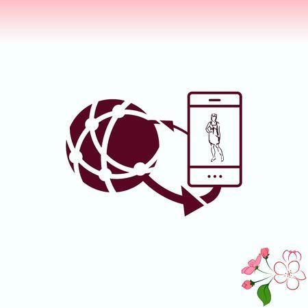 Holding globe, social network icon, vector illustration. Flat design style Illustration