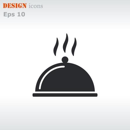 Coperto con un vassoio di cibo icona. Illustrazione vettoriale.