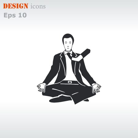 man meditating: A man in a suit sitting meditating. Businessman relaxes. Vector illustration.
