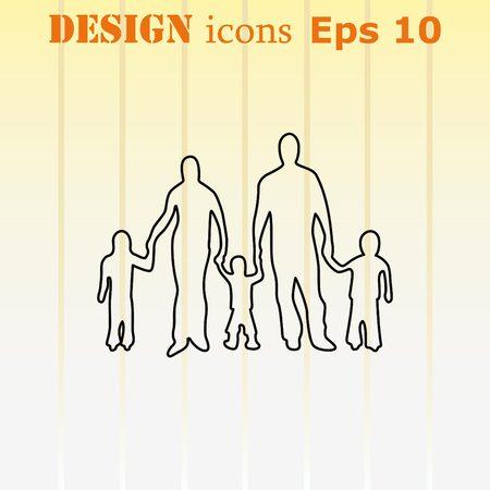 Family icon, vector illustration. Flat design style