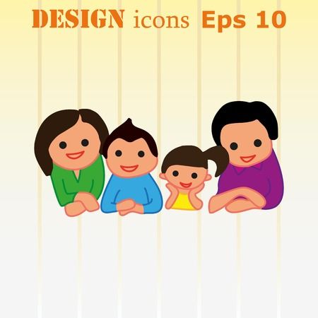 Family icon, vector illustration. Flat design style Illustration