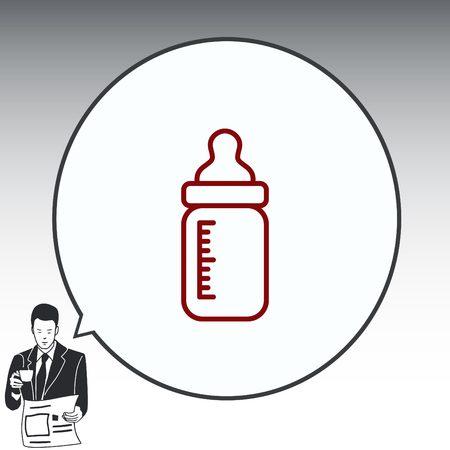 Baby bottle icon, vector illustration. Flat design style
