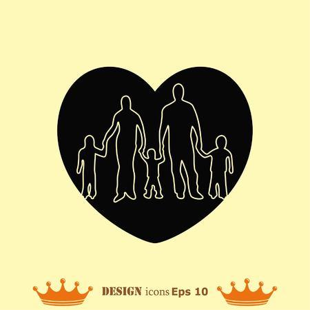 Family icon, vector illustration. Flat design style Illusztráció