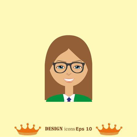 stylish avatar of girl in flat design. Vector illustration