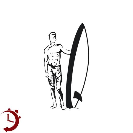 nude fashion model: A man with a surfboard.  Vector illustration. Logo, icon. Illustration