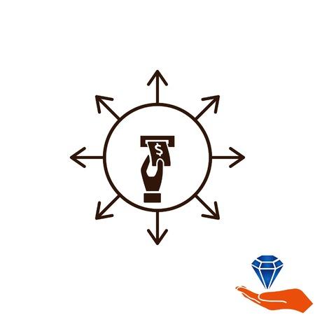 salarios: el icono de dinero, Finanzas icono, ilustración vectorial. estilo de diseño plano. Vectores