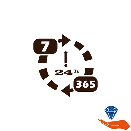 available: Open 24 7 icon with clock Illustration