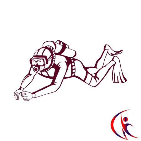deep sea diver: Diver icon, Extreme sports icon, diving icon. Illustration