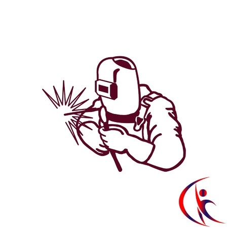 Silhouette of a working welding with a torch icon. Vector illustration. Illustration