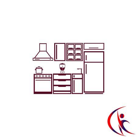 black appliances: Home interior design icon, Kitchen icon, dining icon, vector illustration. Flat design style. Illustration