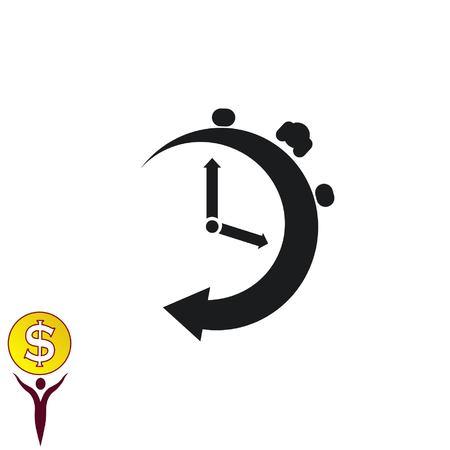 Clock Icon, vector illustration. Flat design style.