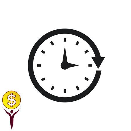 Icono del reloj, ilustración vectorial