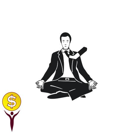 A man in a suit sitting meditating. Vector illustration.