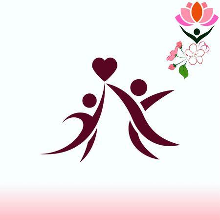 child protection: Family icon, vector illustration. Flat design style Illustration