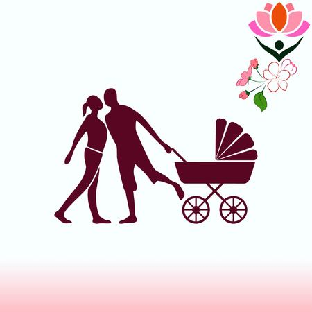 mother and baby: Family icon, vector illustration. Flat design style Illustration