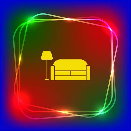 black appliances: Home interior design icon, sofa icon, living room, vector illustration. Flat design style.