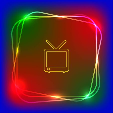 crystal background: Home appliances icon. TV icon. Vector illustration.