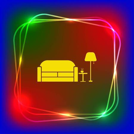 Home interior design icon, sofa icon, living room, vector illustration. Flat design style.