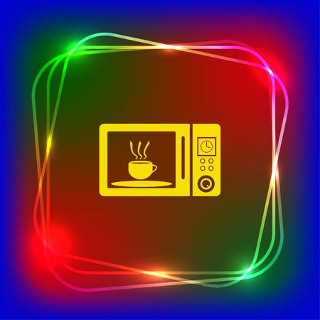 black appliances: Home appliances icon. Microwave icon. Vector illustration. Kitchenware.
