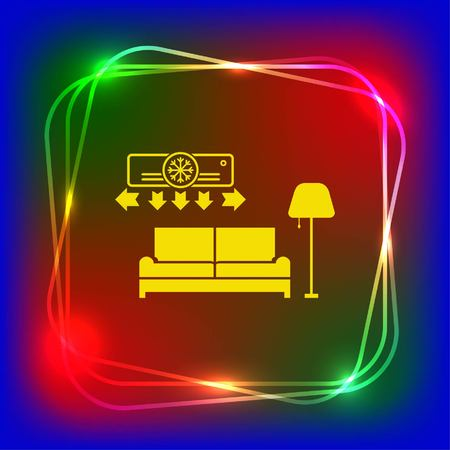 office furniture: Home interior design icon, sofa icon, living room, vector illustration. Flat design style.