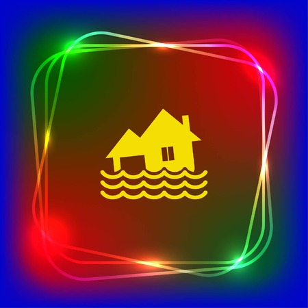 flood damage: Flood icon. disaster. Typhoon. Tornado. The house is in the water. City water, vector illustration. Flat design style. Illustration