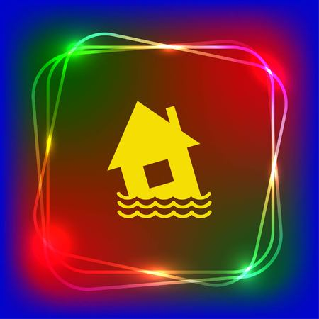 Flood icon. disaster. Typhoon. Tornado. The house is in the water. City water, vector illustration. Flat design style. Illustration