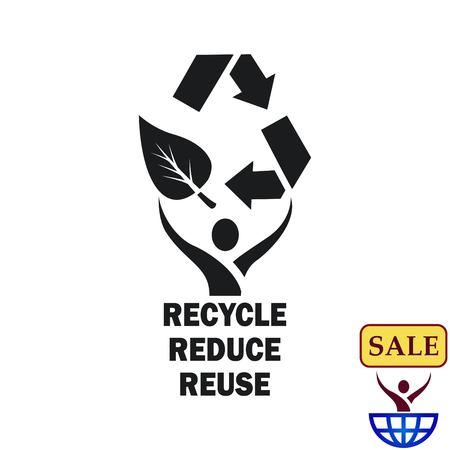 Jogando lixo, reciclagem, poluição, reciclagem e ícone do eco. Conceito do problema de ecologia. Ilustração do vetor Flat.