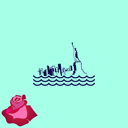 sink: Flood icon. disaster. Typhoon. Tornado. The house is in the water. City water, vector illustration. Flat design style. Illustration