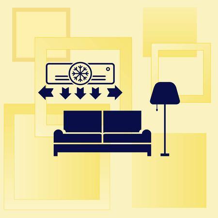 antique furniture: Home interior design icon, sofa icon, living room, vector illustration. Flat design style.