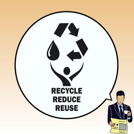 Gooi afval, recycleer, vervuiling, recycling en eco icoon. Concept ecologie probleem. Vlakke Vector illustratie.
