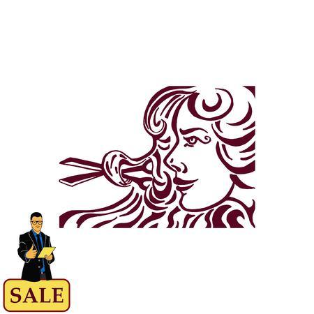 Barber icon, beauty salon logo, hair style silhouette .  Flat Vector illustration