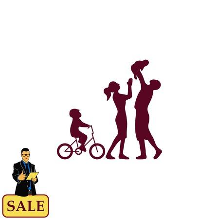 Family icon, vector illustration. Flat design style Vektoros illusztráció