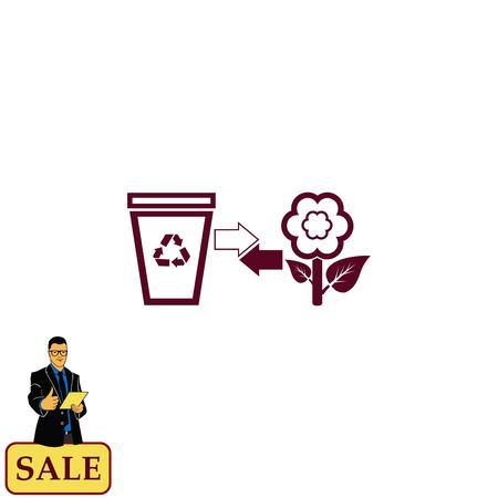 Plaats prullenbak, recycle icoon. Flat Vector illustratie