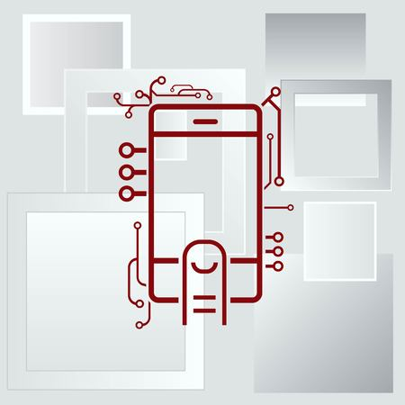 global communication: touch screen technology icon, vector illustration. Flat design style. Illustration