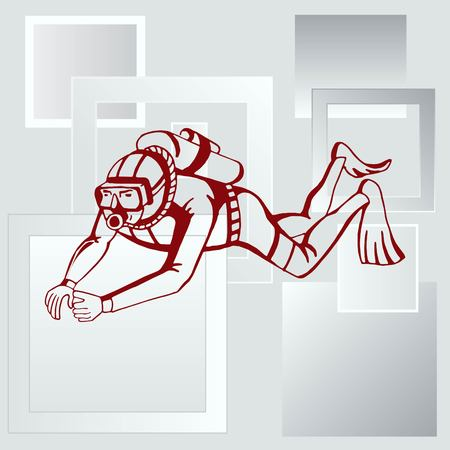 deep sea diver: Diver icon, Extreme sports icon, diving icon. Vector illustration.