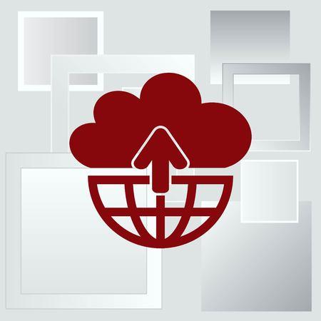 global communication: Technology innovation icon. Cloud technology, cloud hosting icon,   vector illustration. Illustration