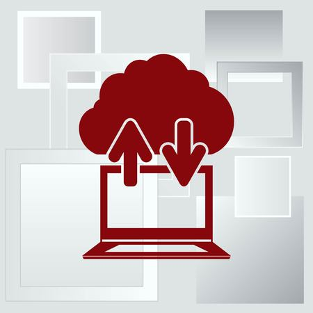 global communication: Technology innovation icon. Cloud technology, cloud hosting icon,  vector illustration.