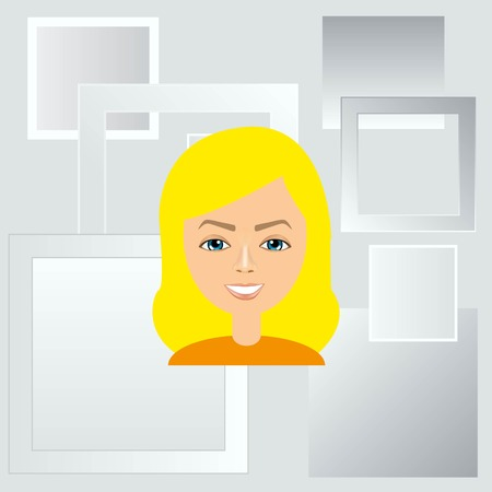 business woman: stylish avatar of girl in flat design. Vector illustration