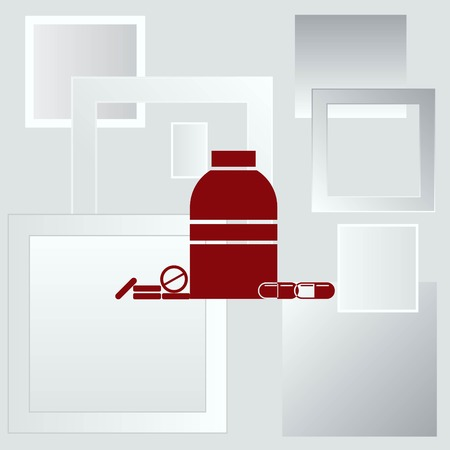 pill prescription: Pills and capsules icon, vector illustration. Illustration