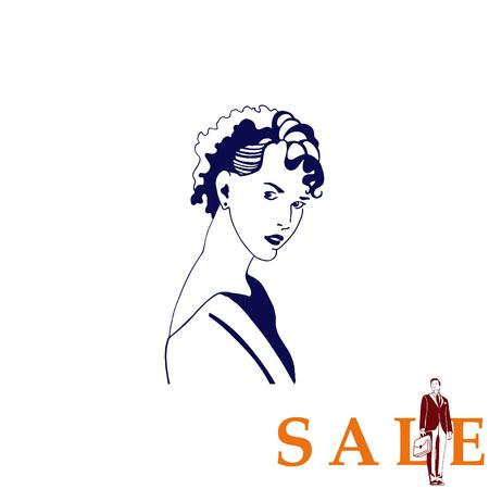 barber: Beautiful woman. Female silhouette. Fashionable. Glamour. Vector illustration