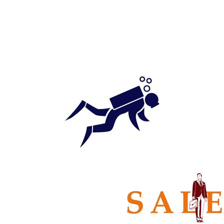 health and fitness: Sport icon , Diver, diving icon.  vector illustration. Flat design style Illustration