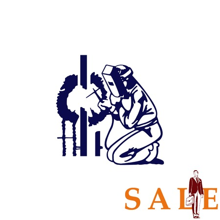 Silhouette of a working welding with a torch icon. Vector illustration. Ilustração