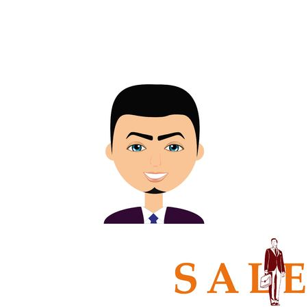 business woman: stylish avatar of guy in flat design. Vector illustration